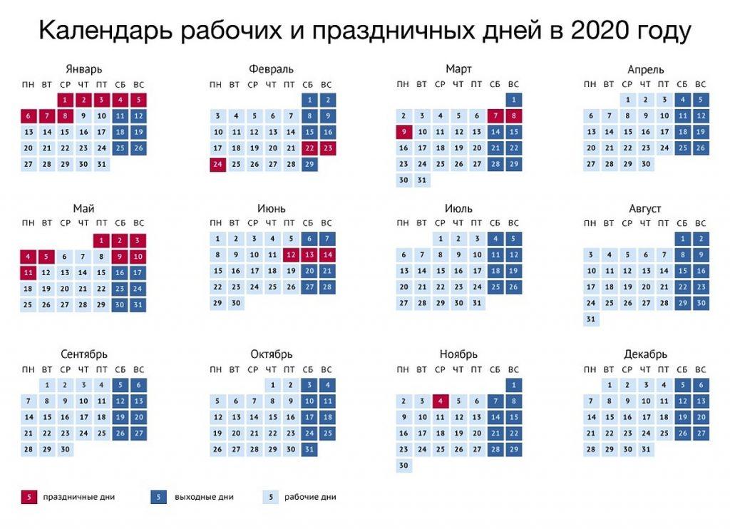 Календарь выходных и праздничных дней 2020
