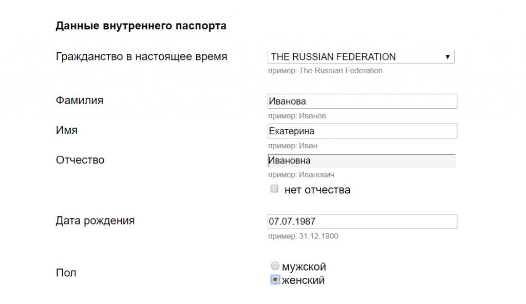 Анкета на визу в Италию - Данные российского паспорта